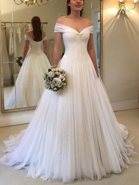 A-Line/Princess Off-the-Shoulder Sleeveless Ruched Tulle Sweep/Brush Train Wedding Dresses