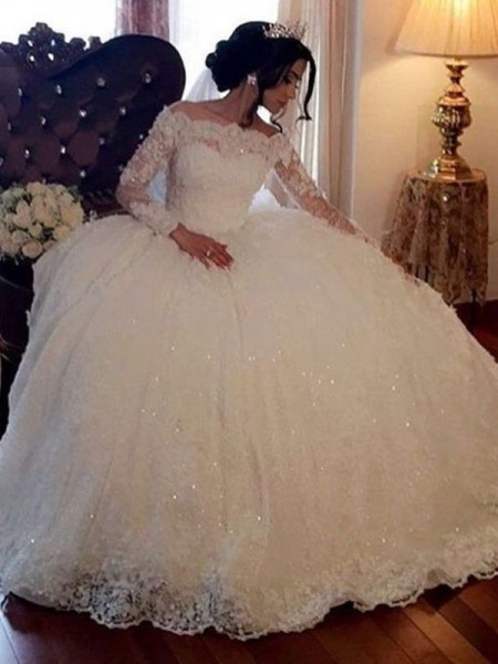Ball Gown Bateau Long Sleeves Tulle Floor-Length Wedding Dresses