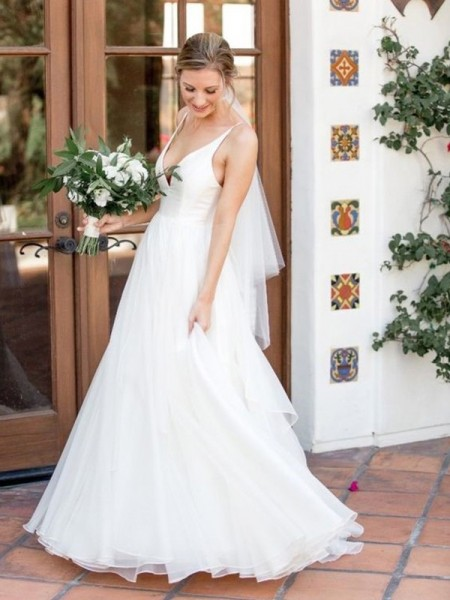 A-Line/Princess V-neck Sleeveless Ruffles Tulle Sweep/Brush Train Wedding Dresses