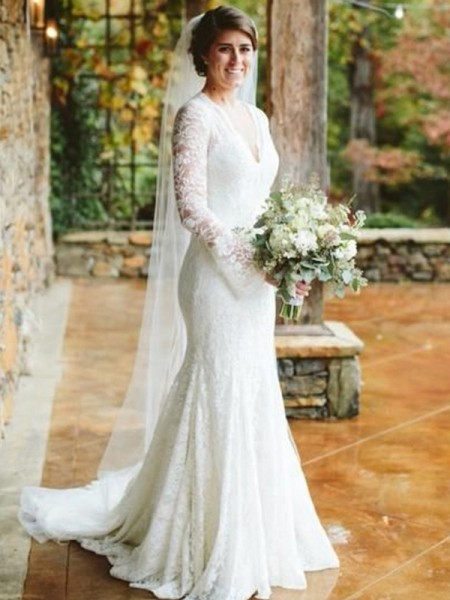 Trumpet/Mermaid V-neck Long Sleeves Ruffles Lace Sweep/Brush Train Wedding Dresses
