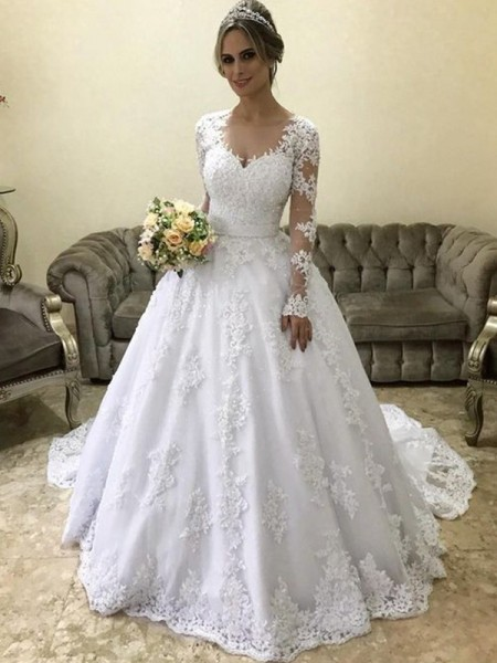 Ball Gown V-neck Long Sleeves Applique Satin Court Train Wedding Dresses