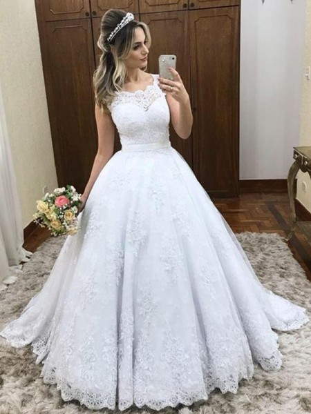 Ball Gown Scoop Sleeveless Satin Sweep/Brush Train Wedding Dresses