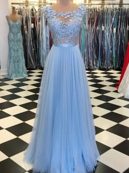 A-Line/Princess Scoop Sleeveless Applique Tulle Floor-Length Dresses