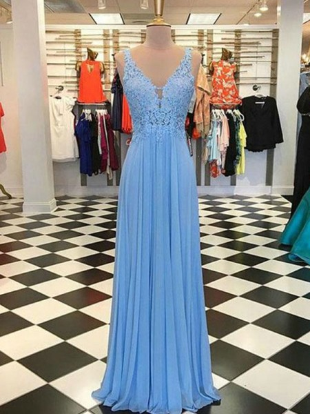 A-Line/Princess Spaghetti Straps Sleeveless Applique Chiffon Floor-Length Dresses