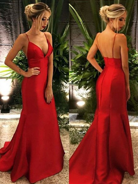 Trumpet/Mermaid Spaghetti Straps Sleeveless Ruffles Satin Sweep/Brush Train Dresses