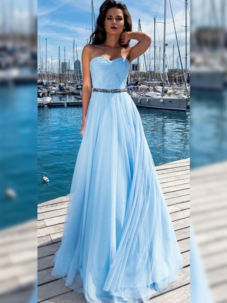 A-Line/Princess Sweetheart Sleeveless Ruffles Sequins Floor-Length Dresses