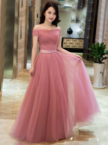 A-Line/Princess Off-the-Shoulder Sleeveless Ruffles Tulle Floor-Length Dresses