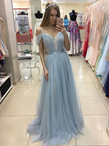 A-Line/Princess Spaghetti Straps Sleeveless Ruffles Tulle Sweep/Brush Train Dresses