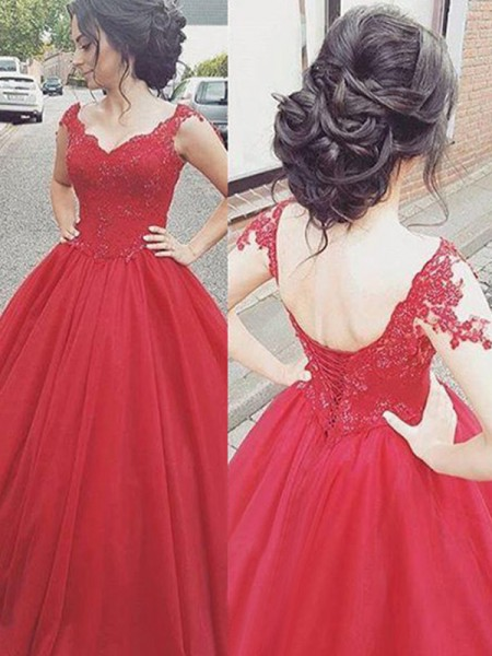 Ball Gown V-neck Sleeveless Applique Satin Floor-Length Dresses