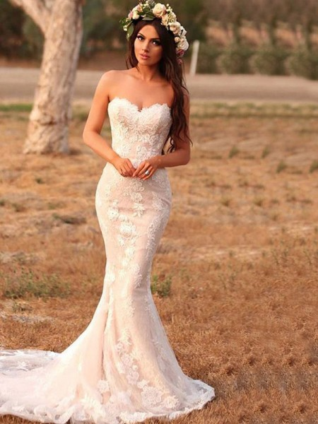 Trumpet/Mermaid Sleeveless Sweep/Brush Train Applique Lace Sweetheart Wedding Dresses