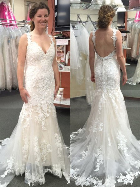 Trumpet/Mermaid Sweep/Brush Train Sleeveless Applique Tulle Straps Wedding Dresses