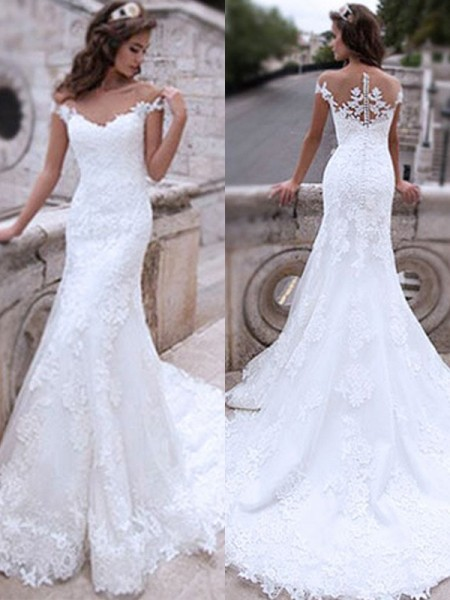 Trumpet/Mermaid Off-the-Shoulder Sweep/Brush Train Applique Tulle Sleeveless Wedding Dresses