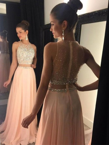 A-Line/Princess Sleeveless Beading Scoop Sweep/Brush Train Chiffon Dresses