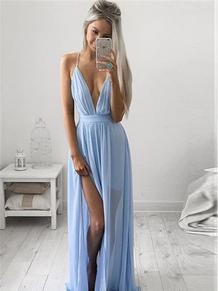 A-Line/Princess Sleeveless Ruched Spaghetti Straps Floor-Length Chiffon Dresses