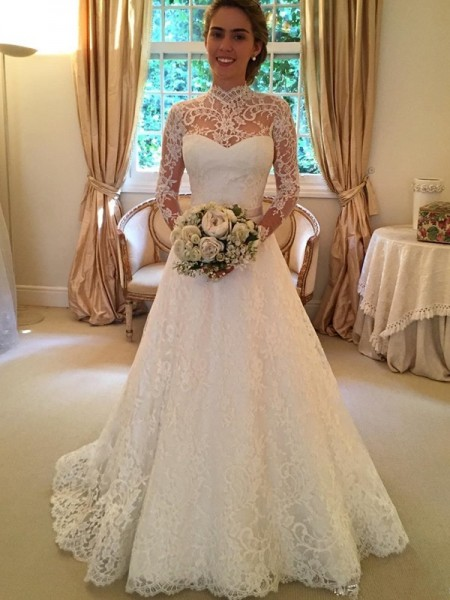 Ball Gown Long Sleeves Lace High Neck Court Train Lace Wedding Dresses