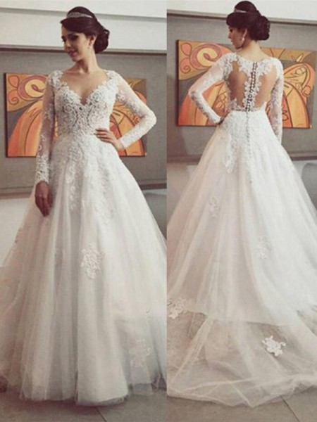 Ball Gown Long Sleeves Lace V-neck Court Train Tulle Wedding Dresses