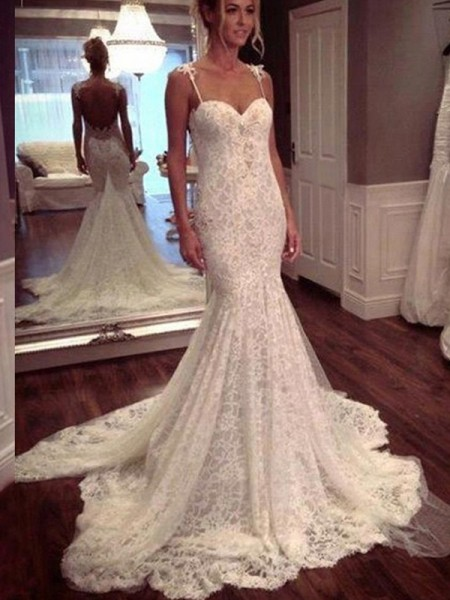 Trumpet/Mermaid Sleeveless Lace Spaghetti Straps Court Train Lace Wedding Dresses