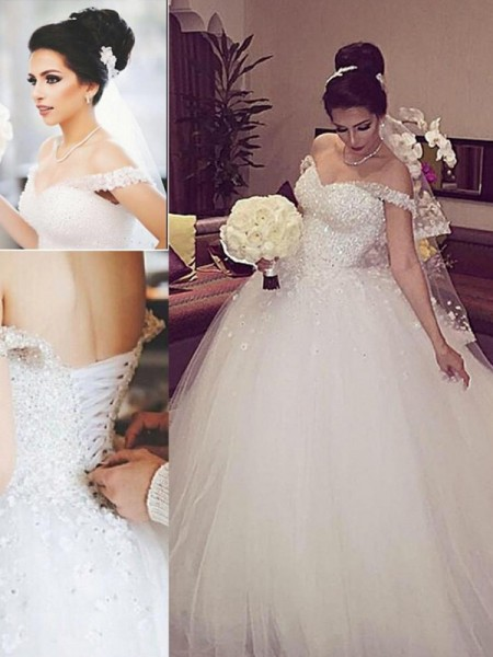Ball Gown Sleeveless Lace Off-the-Shoulder Court Train Tulle Wedding Dresses