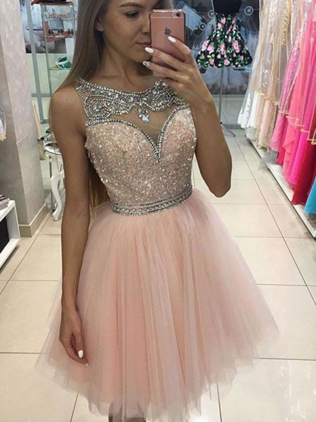 A-line/Princess Sleeveless Beading Scoop Short/Mini Tulle Cocktail Party Dresses