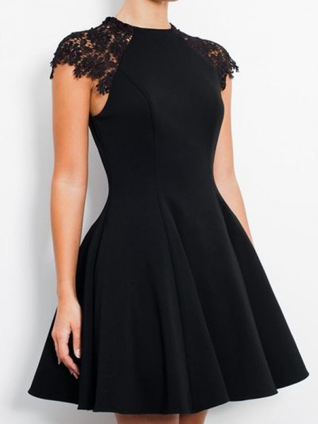 A-line/Princess Sleeveless Lace Scoop Short/Mini Jersey Cocktail Party Dresses