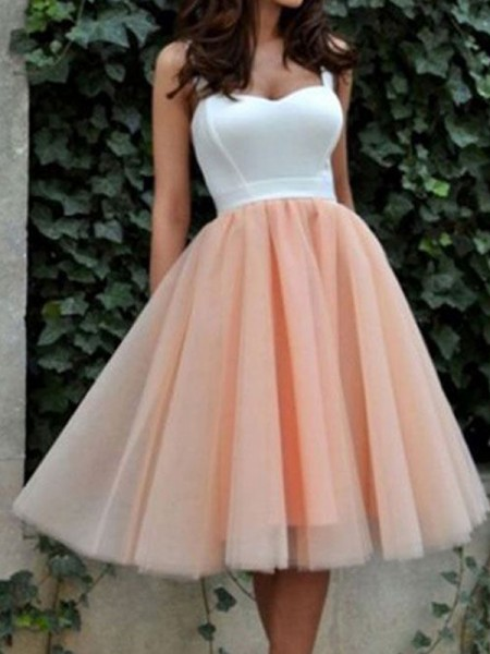 A-line/Princess Sleeveless Sweetheart Knee-Length Tulle Cocktail Party Dresses