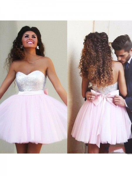 A-line/Princess Sleeveless Beading Sweetheart Short/Mini Tulle Cocktail Party Dresses