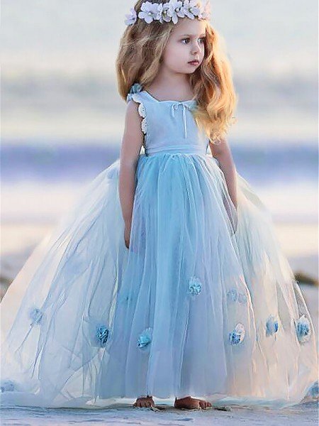Ball Gown Bateau Floor-Length Hand-Made Flower Sleeveless Tulle Flower Girl Dresses