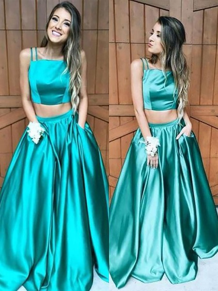 A-Line/Princess Sleeveless Ruffles Square Floor-Length Satin Dresses