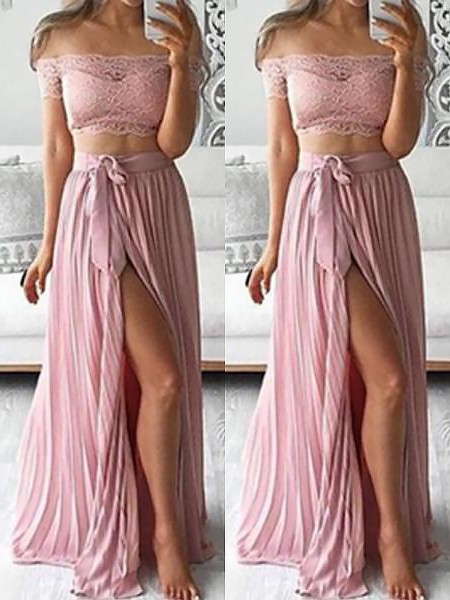 A-Line/Princess Sleeveless Lace Off-the-Shoulder Floor-Length Chiffon Dresses