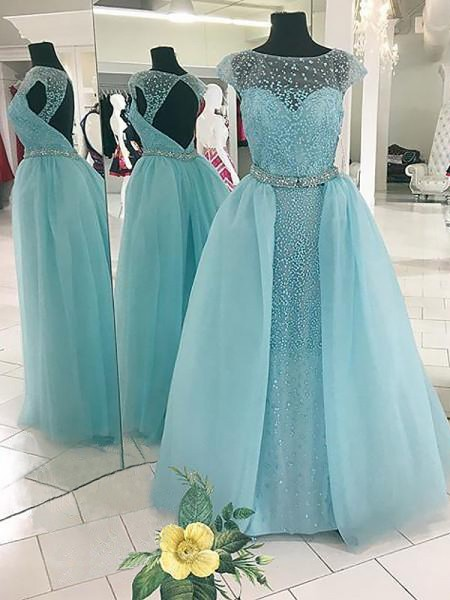 Ball Gown Sleeveless Beading Bateau Floor-Length Tulle Dresses