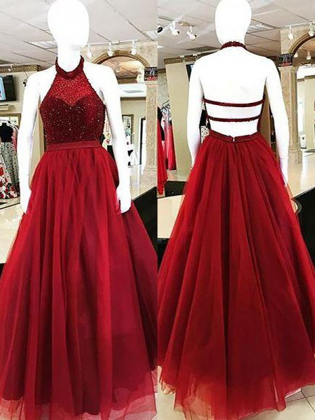 Ball Gown Sleeveless Beading Halter Floor-Length Tulle Dresses