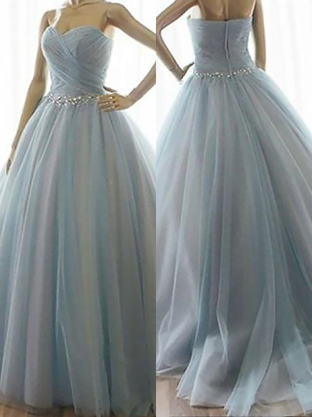 Ball Gown Sleeveless Beading Sweetheart Floor-Length Tulle Dresses