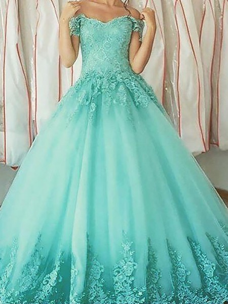 Ball Gown Sleeveless Applique Off-the-Shoulder Floor-Length Tulle Dresses