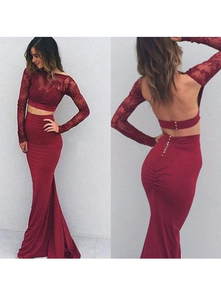 Trumpet/Mermaid Long Sleeves Spandex Bateau Applique Floor-Length Dresses