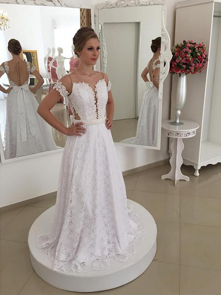 A-Line/Princess Short Sleeves Lace Scoop Sweep/Brush Train Wedding Dresses
