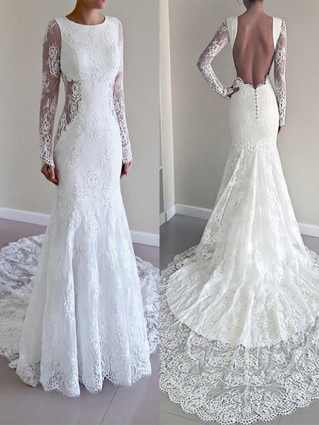 Trumpet/Mermaid Long Sleeves Lace Scoop Court Train Wedding Dresses