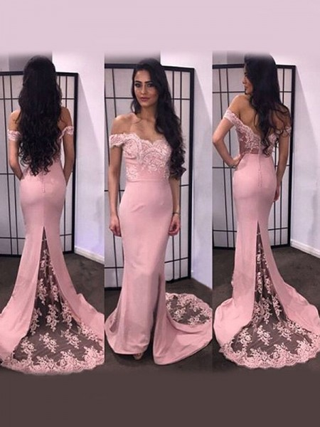 Trumpet/Mermaid Long Sleeves Satin Off-the-Shoulder Lace Sweep/Brush Train Dresses