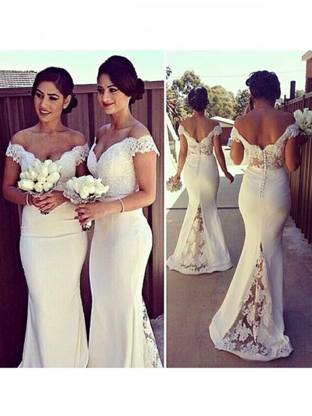 Trumpet/Mermaid Sleeveless Satin Off-the-Shoulder Lace Sweep/Brush Train Dresses