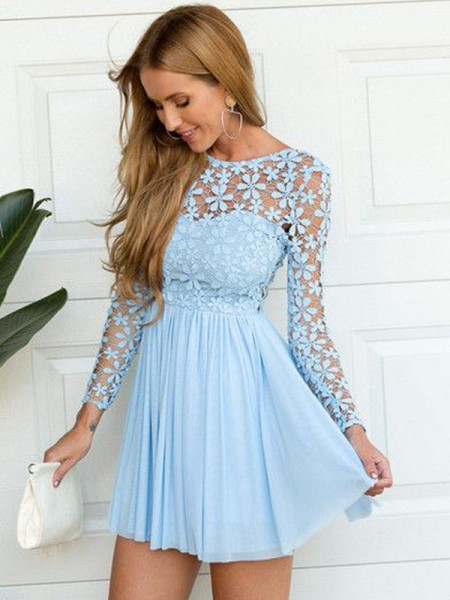 A-line/Princess Long Sleeves Chiffon Scoop Lace Short/Mini Dresses