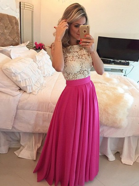 A-Line/Princess Sleeveless Chiffon Scoop Lace Floor-Length Dresses