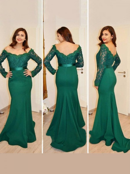 Trumpet/Mermaid Long Sleeves Satin Off-the-Shoulder Applique Floor-Length Dresses