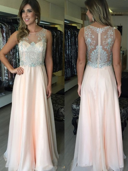 A-Line/Princess Sleeveless Chiffon Scoop Beading Floor-Length Dresses
