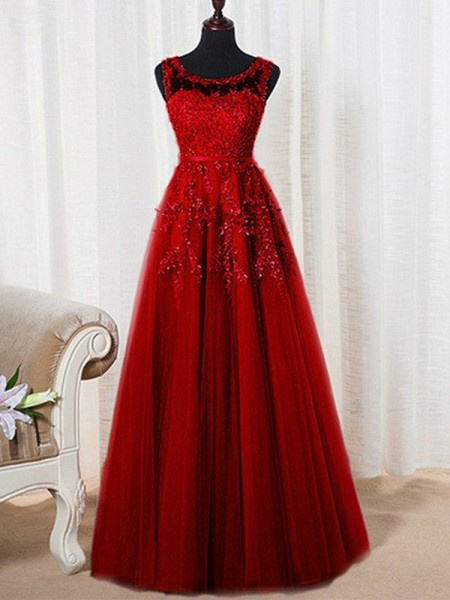 A-Line/Princess Sleeveless Tulle Scoop Beading Floor-Length Dresses