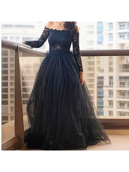 A-Line/Princess Long Sleeves Tulle Off-the-Shoulder Lace Floor-Length Dresses