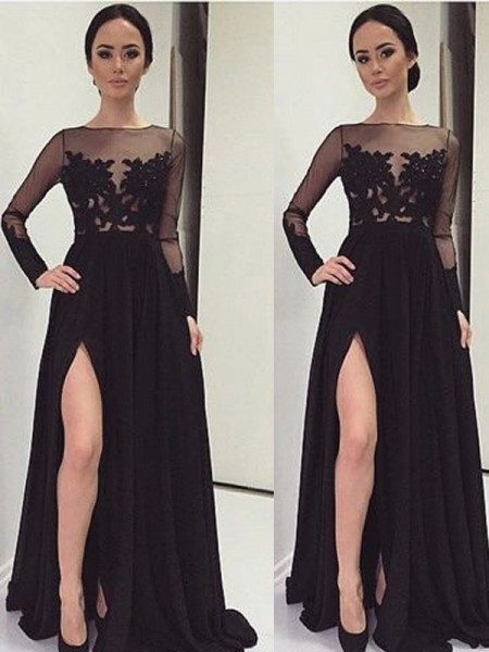 A-Line/Princess Long Sleeves Chiffon Bateau Lace Floor-Length Dresses