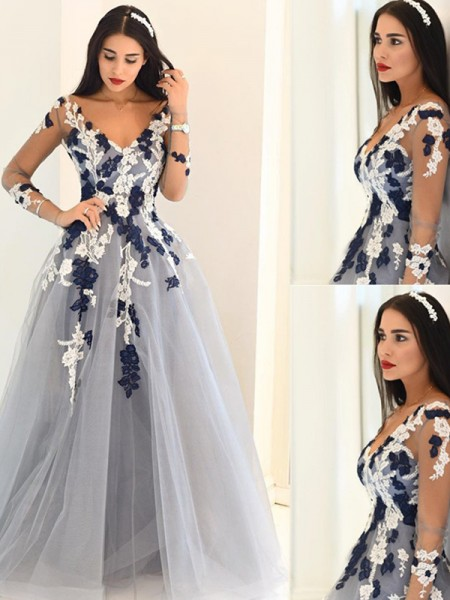 A-Line/Princess Long Sleeves Tulle V-Neck Applique Floor-Length Dresses