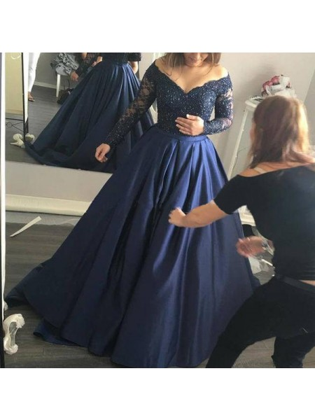 Ball Gown Long Sleeves Satin Off-the-Shoulder Beading Sweep/Brush Train Dresses