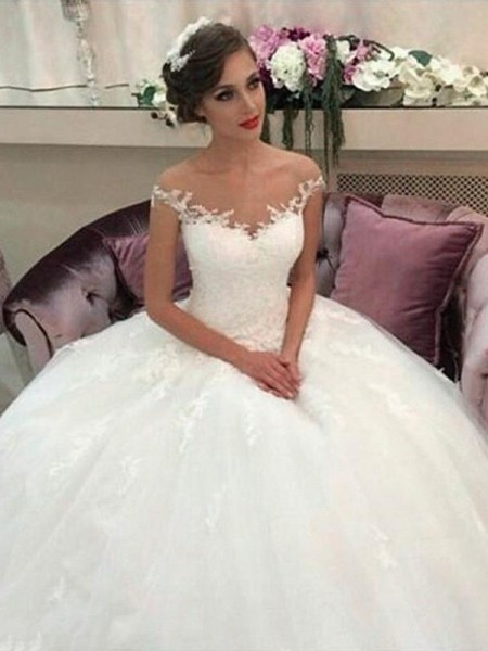 Ball Gown Sleeveless Tulle Off-the-Shoulder Court Train Wedding Dresses