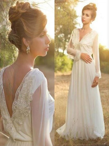 A-Line/Princess Long Sleeves Chiffon V-neck Lace Sweep/Brush Train Wedding Dresses