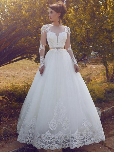 Ball Gown Long Sleeves Tulle Bateau Floor-Length Wedding Dresses
